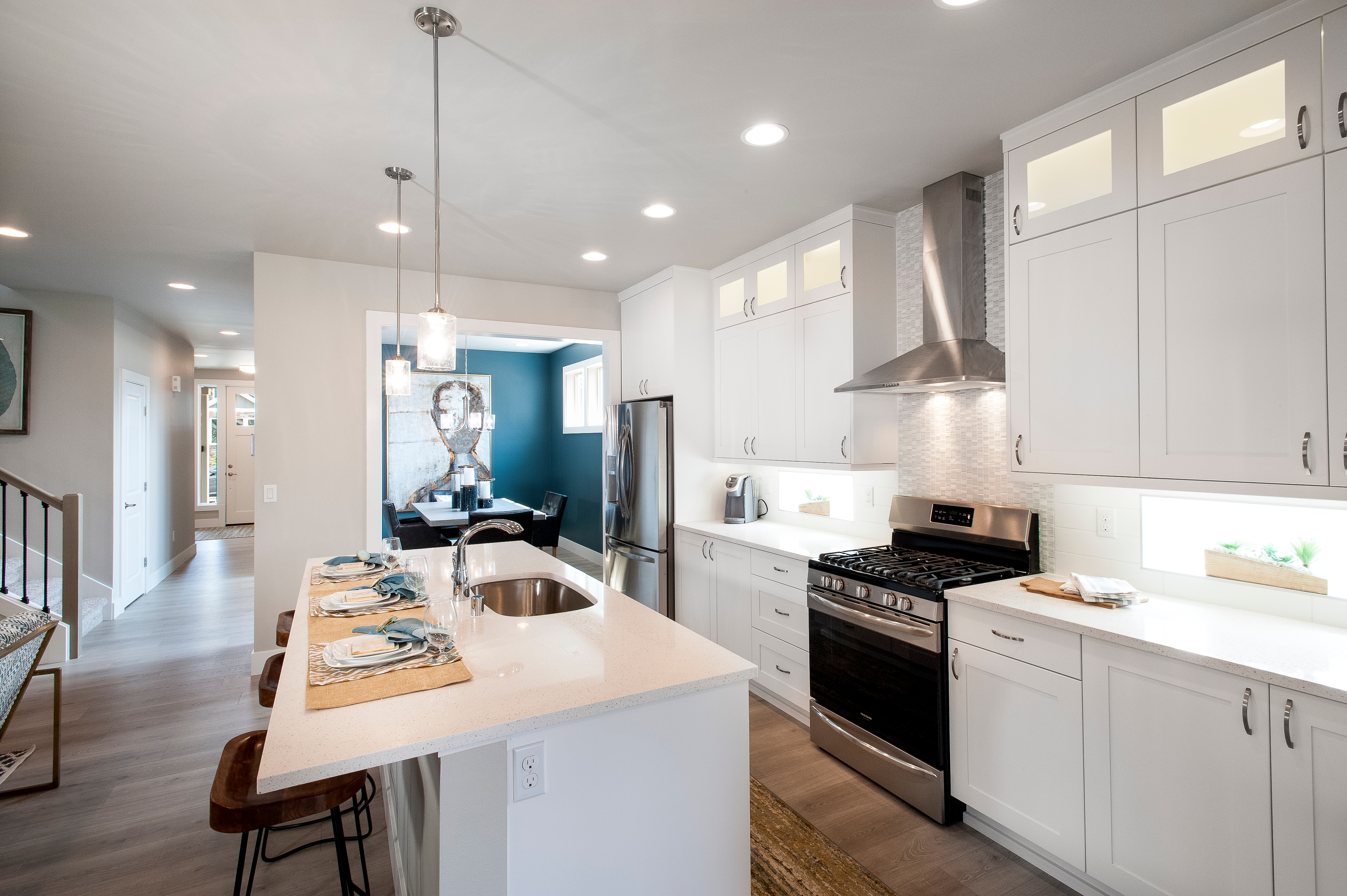 Berkley Kitchen to Dining   New Home Puyallup   Washington Home Builder Rush Residential